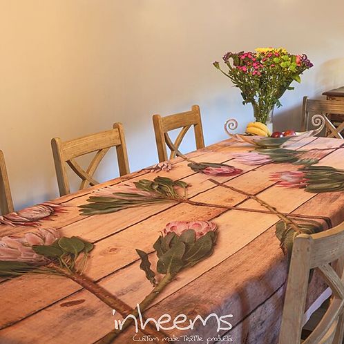 Tablecloth - Proteas on wood
