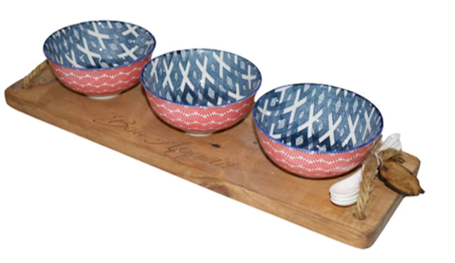 Bon Appetit Engraved Wooden Tray with 3 Bowls and Ceramic Spoons