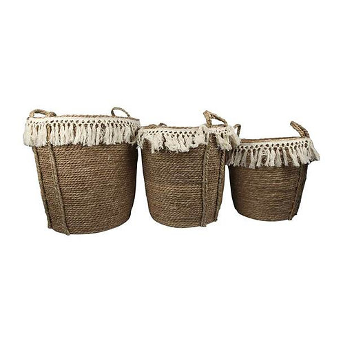 Set of 3 Two Toned Weaved Basket