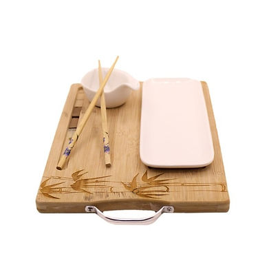 Engraved Bamboo Board with 2 Serving Dishes and Chop Sticks