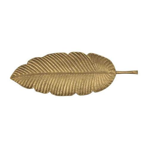 Large Gold Metal Leaf Platter