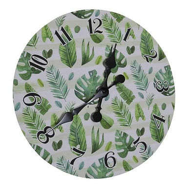 Wall Clock - Green Leaves