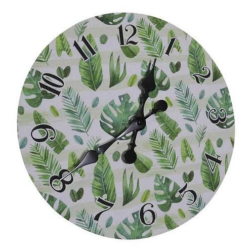Wall Clock - Green Leaves