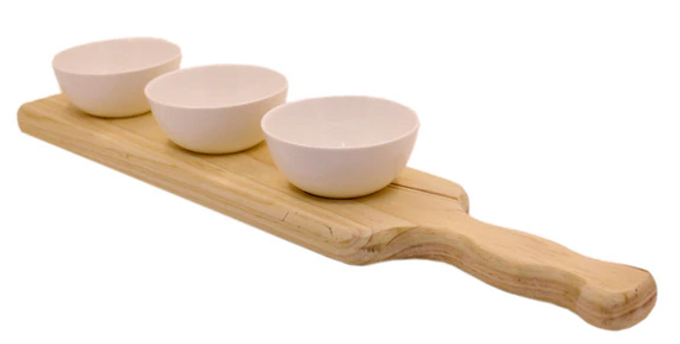Wooden Platter with 3 Round Shaped Bowls