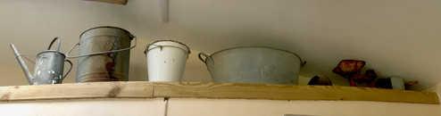 old galvanised steel buckets