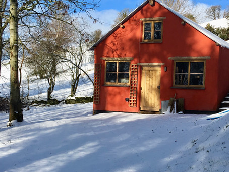 Red shed in the snow