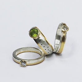 Claire Acworth Jewellery peridot and diamond rings