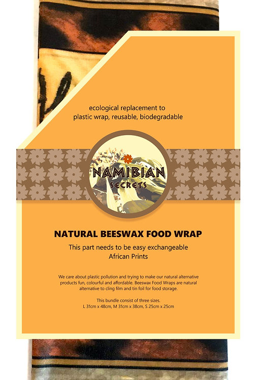 Beeswax Food Wraps Set of 3 S/M/L African Print