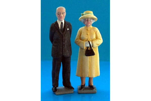 HM The Queen and Prince Philip (painted, on bases)