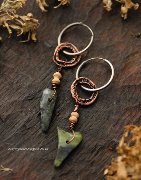 Pounamu and copper ring earring dark.jpg
