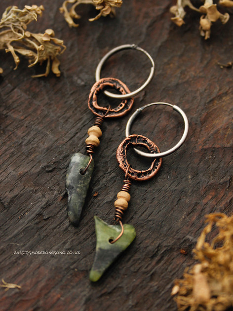 Pounamu and copper ring earring dark.jpg