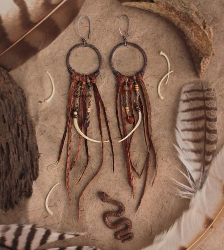 Snake skin and bone hoop earrings insta.