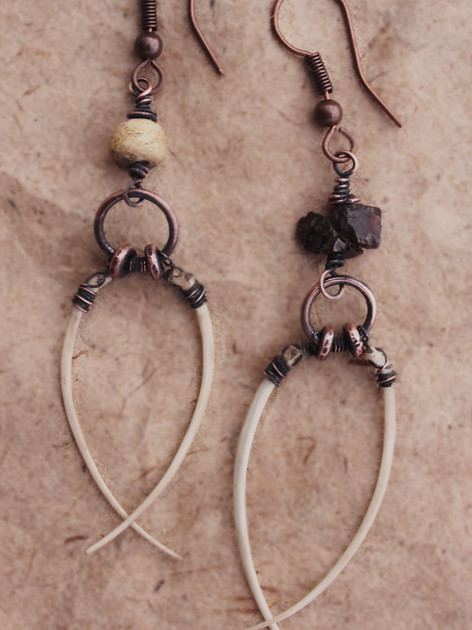 Sharons snake bone earrings bone and gar