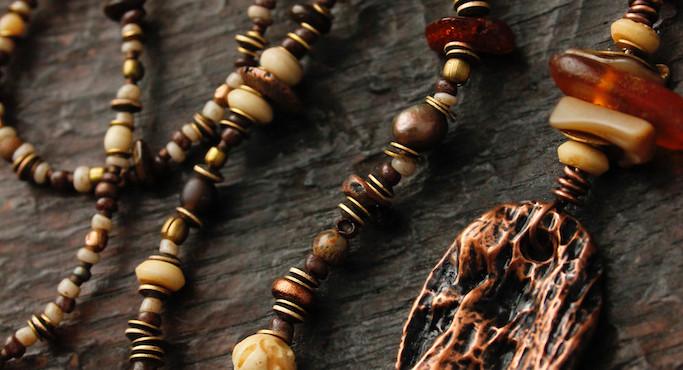 St Nectans Glenn amber and bone long par