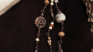 Handmade copper Spirit of Place beads, shell and amber.