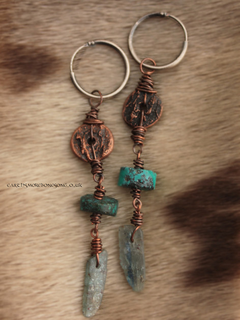 selkie skull texture earrings turquoise