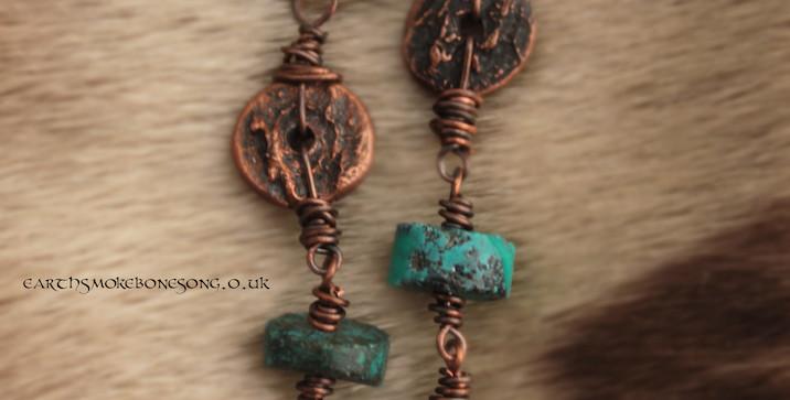 selkie skull texture earrings turquoise