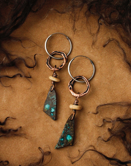 turquoise matrix and snake earrings.jpg