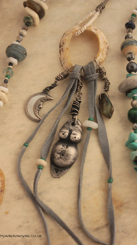 Birthing Beads  - hand made fine silver pregnant belly, sterling silver moon and labradorite bead.