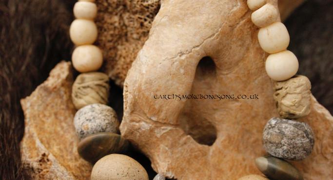simple fossilised mammoth bone necklace