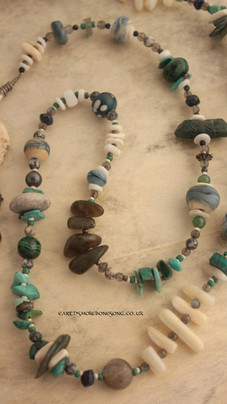 Birthing Beads - turquoise, shell, labradorite and hand made glass beads.
