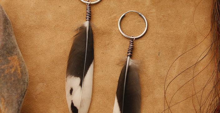 lighter woodpecker tail feather earrings