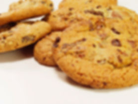 This photograph shows some chocolate chip cookies.