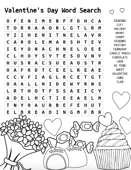 Mystery Club Valentine's Day Word Search