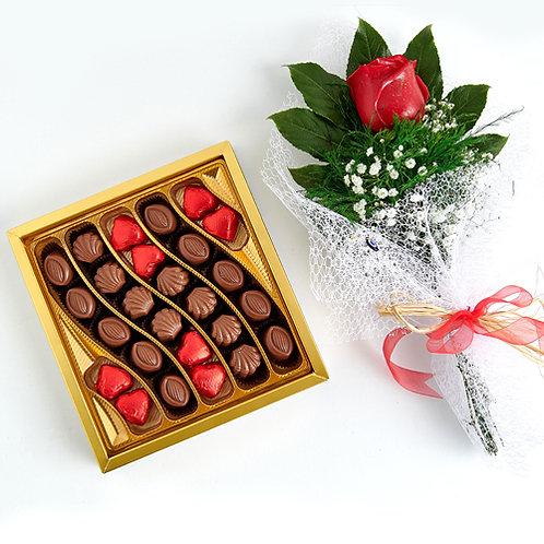 Chocolate Waves Hediyelik  Çikolata Kutu ve Kırmızı Canlı Gül Buketi