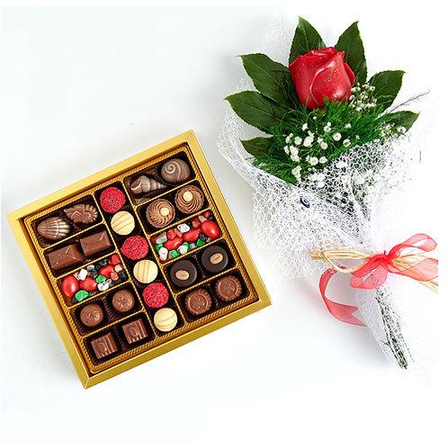 Vilnius Hediyelik Çikolata Kutu ve Kırmızı Canlı Gül Buketi