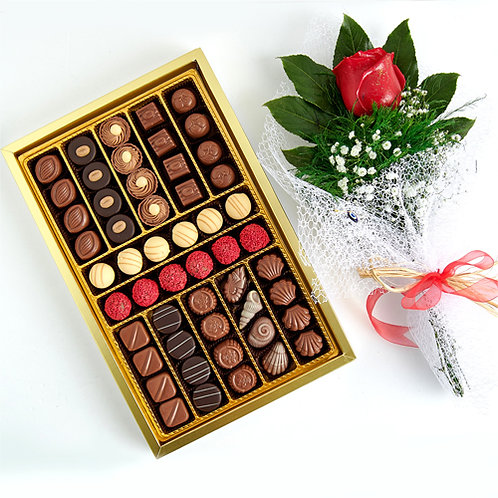Spesiyal Dolgulu Hediyelik Çikolata Kutu ve Kırmızı Canlı Gül Buketi