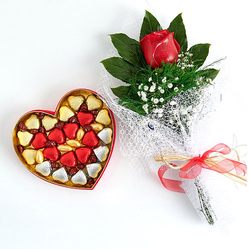 Golden Heart Gift Chocolate Heart Box and Red Rose Bouquet