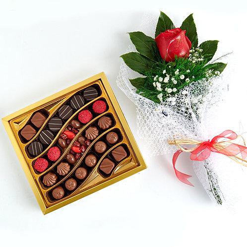 Lille Hediyelik Çikolata Kutu ve Kırmızı Canlı Gül Buketi