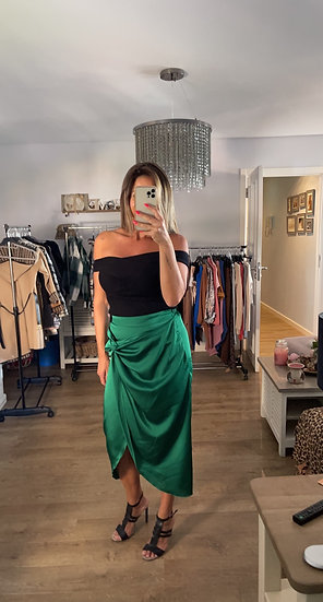 Knotted Satin Skirt