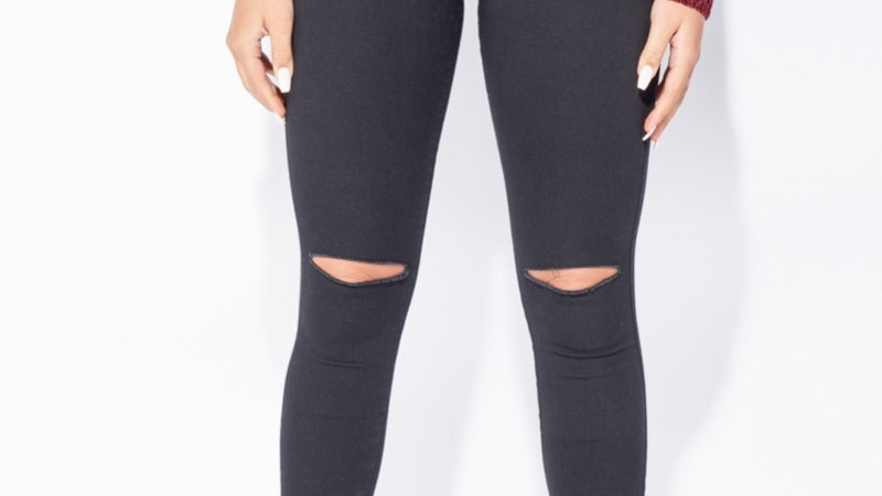 High-Waisted Ripped Knee Jeggings
