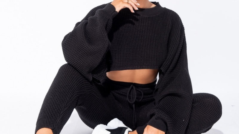 Black Cube Knit Cropped Jumper Lounge Set