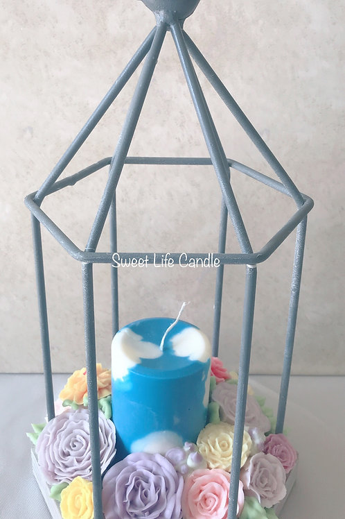 Soy Wax Pillar Candle with Bird Lantern