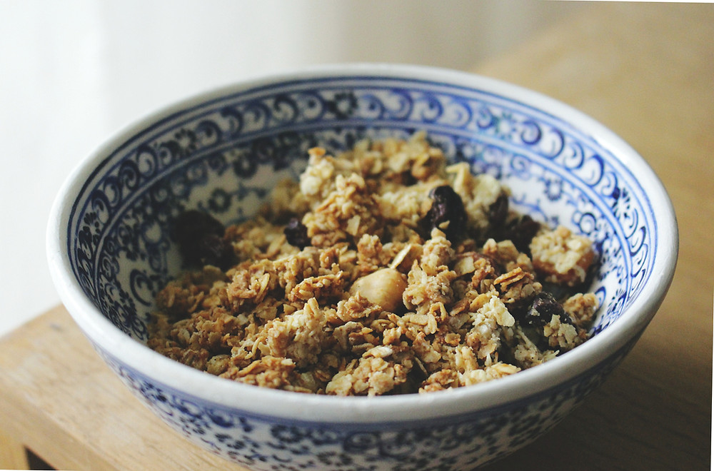 Bowl of delicious homemade granola.