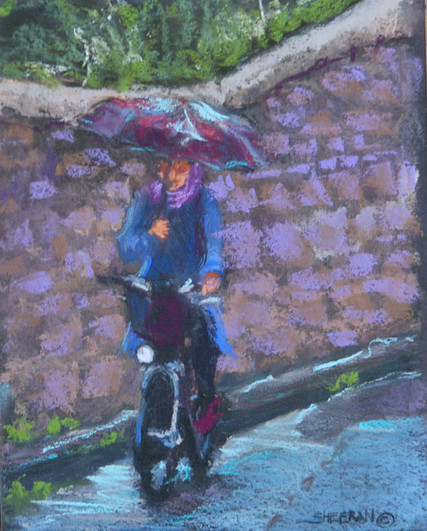 French Girl  Bicycle  Pastel