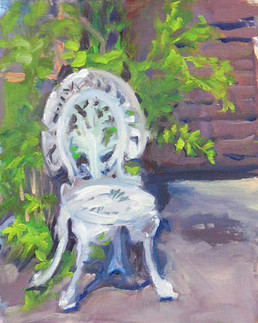 Una's Chair  8 X 10 Oil