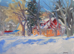 Winter Color Clevand St 12x9 oil