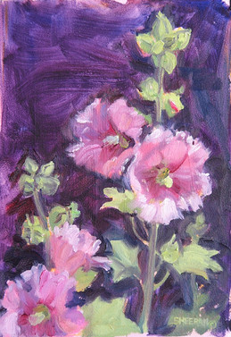 Full Bloom Hollyhocks 7 X 10