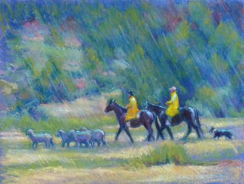 Rainy Day at the Trials 25 X 19 Pastel