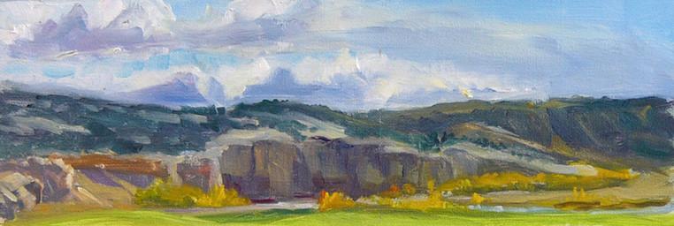 Chew's Fields in Autumn 12 X 5 Oil