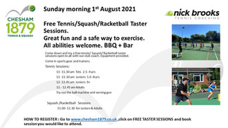 Free Tennis/Squash/Racketball taster sessions Sunday morning 1st August 2021