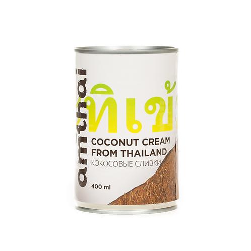 Кокосовые сливки «АМТАЙ», мякоть 93%, растительные жиры 20-22% 400 мл (24 шт.)
