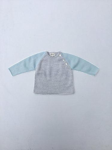 Grey/light green wool jumper/ Camsola lã cinzento/verde água