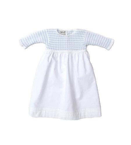 Blue stripes baby cotton long dress/ Cueiro malha algodão com riscas azuis