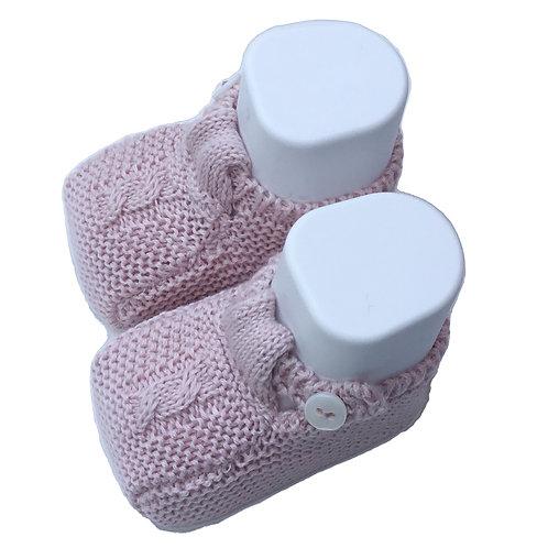 Pink cotton shoes/ Botas de bebe de algodão cor de rosa