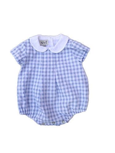 Blue vichy baby romper Fofo de bebe vichy azul